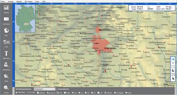 Deutschlandkarte mit Gradnetz