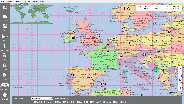 World map with locator grid